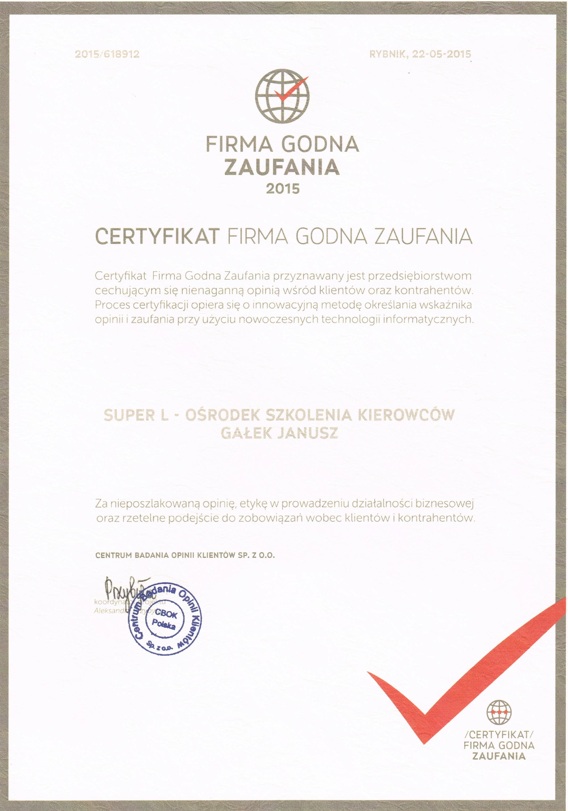 certyfikat naszej szkoły jazdy